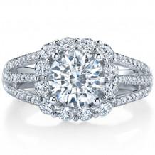 14k White Gold Coast Diamond 1.02ct Diamond Semi-Mount Fishtail Engagement Ring