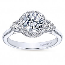 Gabriel & Co 14k White Gold Round 3 Stones halo Engagement Ring