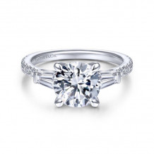 Gabriel & Co. 14k White Gold Contemporary 3 Stone Diamond Engagement Ring - ER14796R8W44JJ