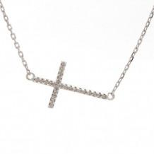 Lau International Sterling Silver Diamond Cross Necklace