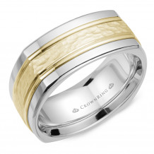 CrownRing 14k Two Tone Gold Carved 9mm Wedding Band - WB-9670