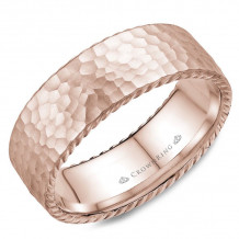 CrownRing 14k Rose Gold Rope 8mm Wedding band - WB-004R8R