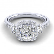Gabriel & Co. 14k White Gold Victorian 3 Stone Halo Diamond Engagement Ring - ER12785W44JJ