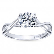 Gabriel & Co 14k White Gold Round Twisted Engagement Ring