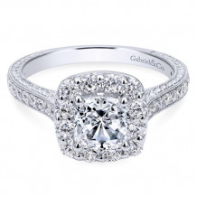 Gabriel & Co. 14k White Gold Cushion Cut Halo Engagement Ring