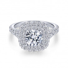 Gabriel & Co. 14k White Gold Entwined Double Halo Diamond Engagement Ring - ER12675R4W44JJ
