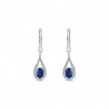 14k White Gold Gabriel & Co. Diamond And Sapphire Drop Earrings