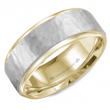 CrownRing 14k Two Tone Gold Carved 8mm Wedding Band - WB-9300