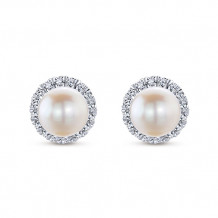 Gabriel & Co. 14k White Gold Grace Pearl & Diamond Stud Earrings - EG13233W45PL