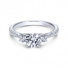 Gabriel & Co. 14k White Gold Contemporary 3 Stone Diamond Engagement Ring - ER7460W44JJ
