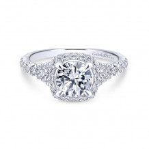 Gabriel & Co. 14k White Gold Entwined Halo Diamond Engagement Ring - ER12813R4W44JJ