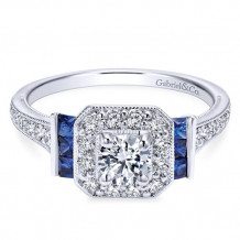 Gabriel & Co. 14k White Gold Round Halo Diamond & Sapphire Engagement Ring