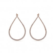 14k Rose Gold Gabriel & Co. Intricate Diamond Hoop Earrings