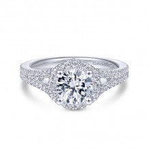 Gabriel & Co. 14k White Gold Contemporary Halo Diamond Engagement Ring - ER14454R4W44JJ