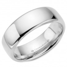 CrownRing 14k White Gold Traditional 7.5mm Wedding band - TDS14W75