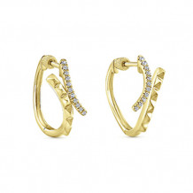 14k Yellow Gold Gabriel & Co. Diamond Huggie Earrings