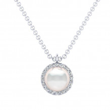 Gabriel & Co. 14k White Gold Grace Pearl & Diamond Necklace - NK5619W45PL