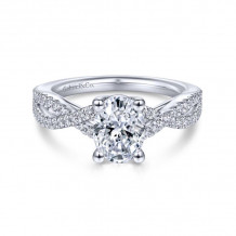 Gabriel & Co. 14k White Gold Contemporary Twisted Diamond Engagement Ring - ER7546O4W44JJ