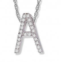 Lau International 14k White Gold Diamond Initial A Pendant