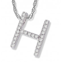 Lau International 14k White Gold Diamond Initial H Pendant