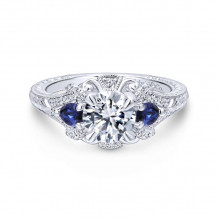 Gabriel & Co. 14k White Gold Victorian 3 Stone Diamond & Gemstone Engagement Ring - ER12582R4W44SA