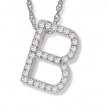 Lau International 14k White Gold Diamond Initial B Pendant