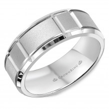 CrownRing 14k White Gold Carved 7mm Wedding Band - WB-9910