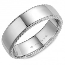 CrownRing 14k White Gold Rope 7mm Wedding band - WB-007R7W