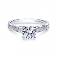 Gabriel & Co. 14k White Gold Victorian Straight Diamond Engagement Ring - ER7999W44JJ
