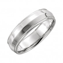 Stuller 14k White Gold Comfort Fit Milgrain Wedding Band