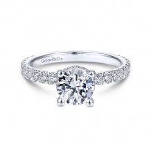 Gabriel & Co. 14k White Gold Contemporary Straight Diamond Engagement Ring - ER14649R4W44JJ