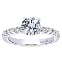 Gabriel & Co 14k White Gold Round Straight Engagement Ring