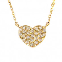 Lau International 14k Yellow Gold Diamond Heart Necklace