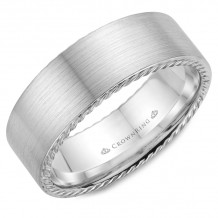 CrownRing 14k White Gold Rope 8mm Wedding band - WB-009R8W