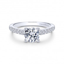 Gabriel & Co. 14k White Gold Contemporary Straight Diamond Engagement Ring - ER14399R4W44JJ