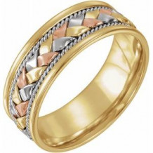 14K Tri-Color 8 mm Woven Band Size 7