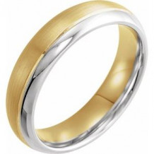 14K Yellow/White 6 mm Grooved Band with Brushed & Polished Finish Size 7