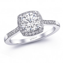14k White Gold Coast Diamond 0.16ct Diamond Semi-Mount Fine Pave Milgrain Engagement Ring