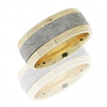 Lashbrook 14k White Gold with Meteorite Inlay Wedding Band