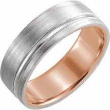 14K Rose & White 7 mm Comfort-Fit Band with Matte Finish Size 7