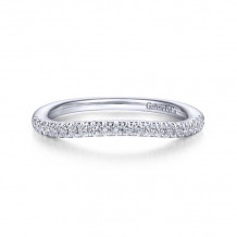 Gabriel & Co. 14k White Gold Contemporary Curved Wedding Band - WB14409P4W44JJ