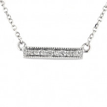 Lau International 14k White Gold Diamond Bar Necklace