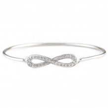 Lau International Sterling Silver Diamond Infinity Bangle Bracelet