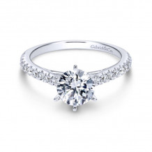 Gabriel & Co. 14k White Gold Contemporary Straight Diamond Engagement Ring - ER7533W44JJ