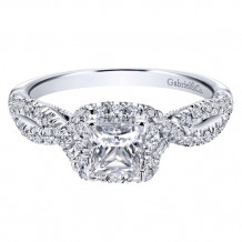 Gabriel & Co. 14k White Gold Princess Cut Halo Engagement Ring