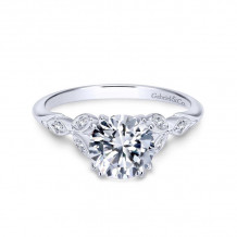Gabriel & Co. 14k White Gold Victorian Straight Diamond Engagement Ring - ER11721R4W44JJ