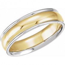 14K White/Yellow/White 6 mm Grooved Band Size 7