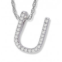 Lau International 14k White Gold Diamond Initial U Pendant