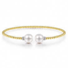 Gabriel & Co. 14k Yellow Gold Bujukan Pearl & Diamond Bangle Bracelet - BG4247-65Y45PL