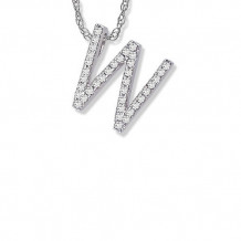 Lau International 14K White Gold Diamond Initial W Pendant